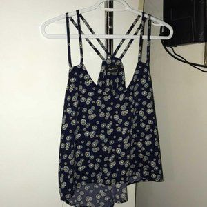 Navy Blue Floral Top (S)